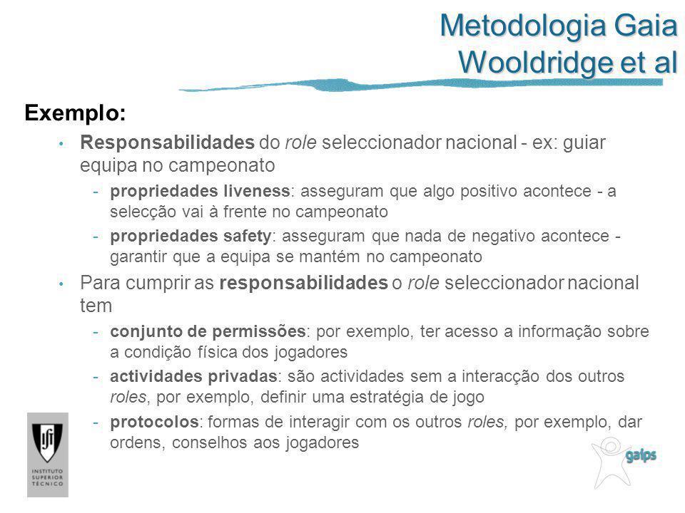 Metodologia Gaia Wooldridge et al Exemplo: Responsabilidades do role seleccionador nacional - ex: guiar equipa no campeonato -propriedades liveness: a