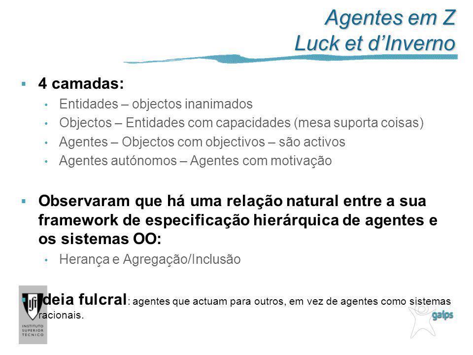 Agentes em Z Luck et dInverno 4 camadas: Entidades – objectos inanimados Objectos – Entidades com capacidades (mesa suporta coisas) Agentes – Objectos