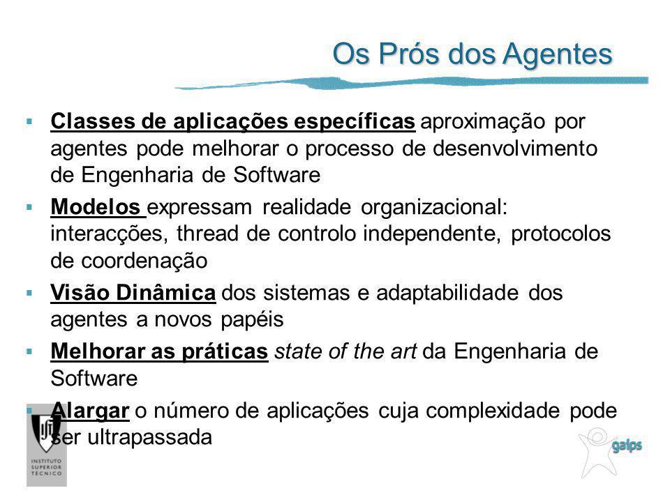 Os Prós dos Agentes Classes de aplicações específicas aproximação por agentes pode melhorar o processo de desenvolvimento de Engenharia de Software Mo
