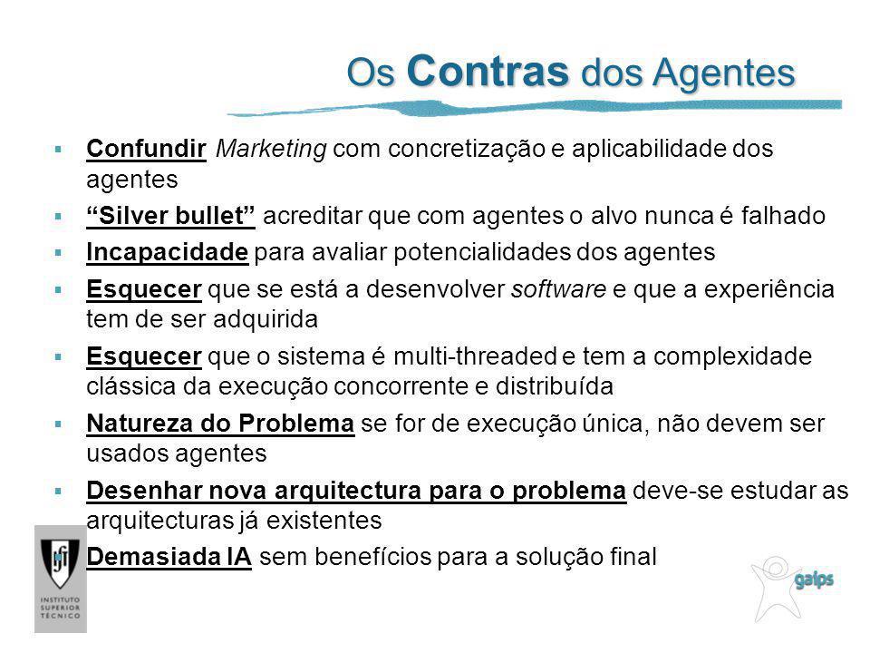 Os Contras dos Agentes Confundir Marketing com concretização e aplicabilidade dos agentes Silver bullet acreditar que com agentes o alvo nunca é falha