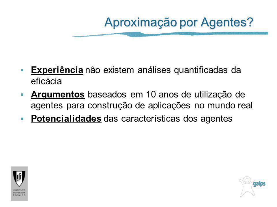 Aproximação por Agentes? Experiência não existem análises quantificadas da eficácia Argumentos baseados em 10 anos de utilização de agentes para const