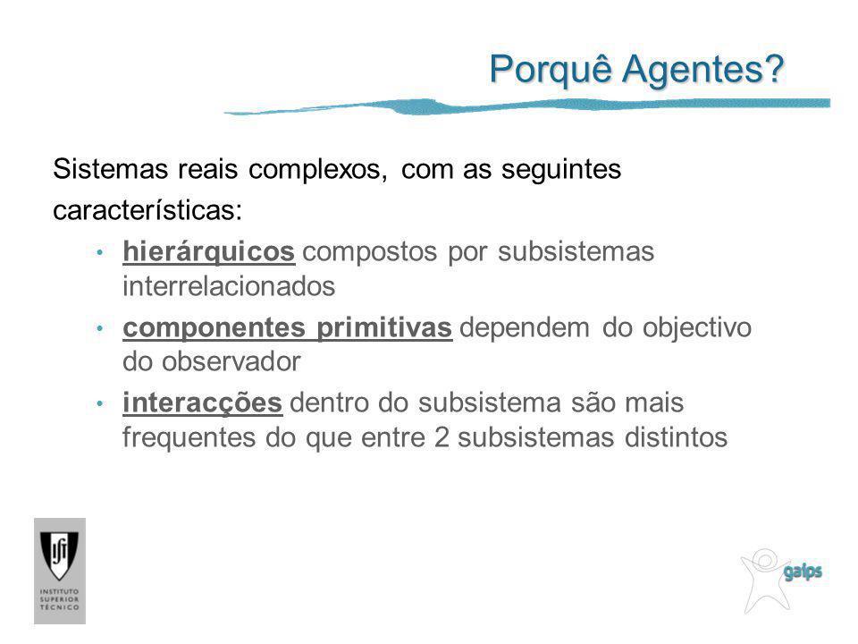 Porquê Agentes? Sistemas reais complexos, com as seguintes características: hierárquicos compostos por subsistemas interrelacionados componentes primi