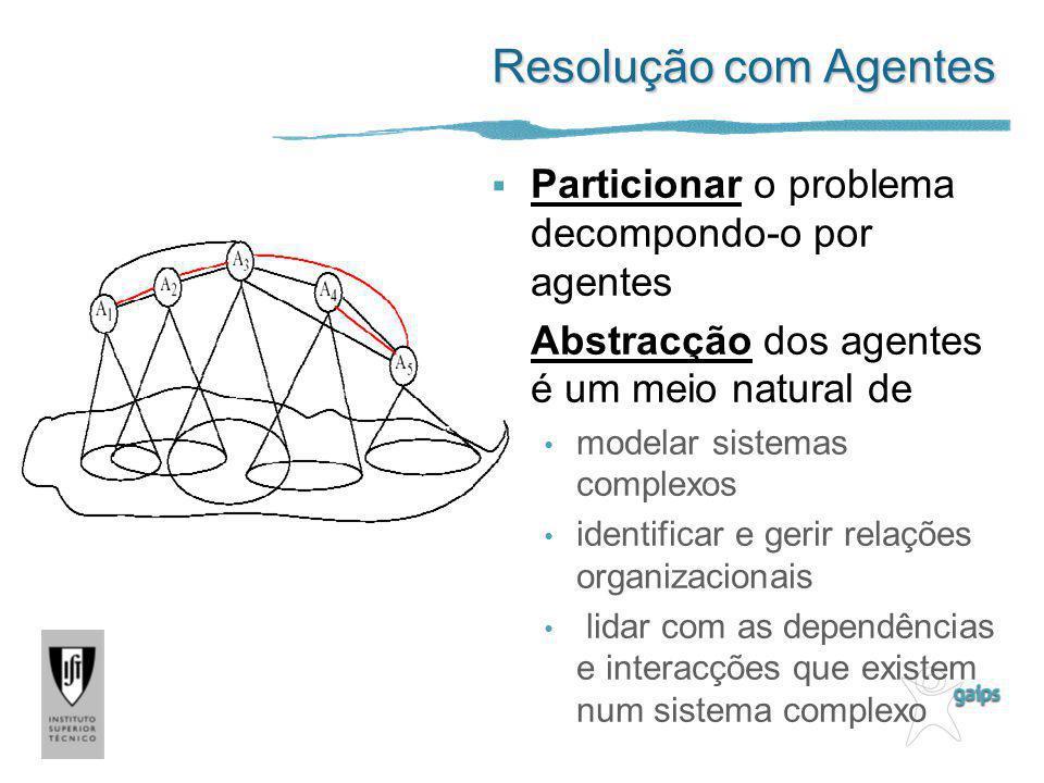 Resolução com Agentes Particionar o problema decompondo-o por agentes Abstracção dos agentes é um meio natural de modelar sistemas complexos identific