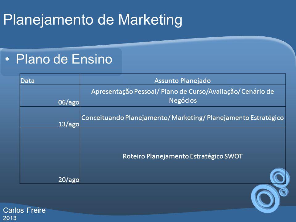 Planejamento de Marketing Plano de Ensino DataAssunto Planejado 06/ago Apresentação Pessoal/ Plano de Curso/Avaliação/ Cenário de Negócios 13/ago Conceituando Planejamento/ Marketing/ Planejamento Estratégico 20/ago Roteiro Planejamento Estratégico SWOT Carlos Freire 2013