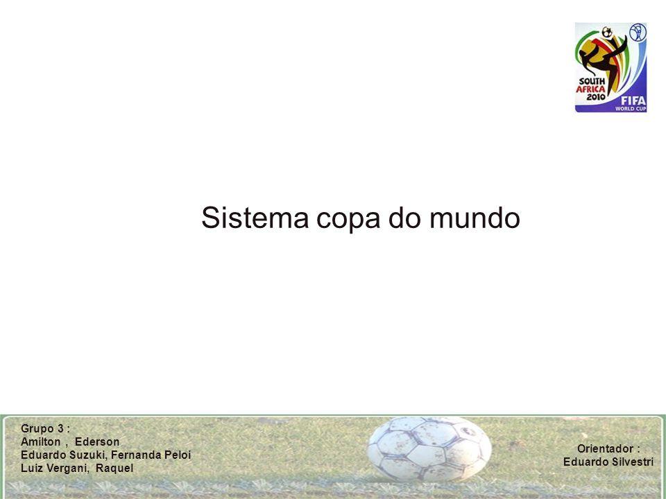 Sistema copa do mundo Grupo 3 : Amilton, Ederson Eduardo Suzuki, Fernanda Peloi Luiz Vergani, Raquel Orientador : Eduardo Silvestri