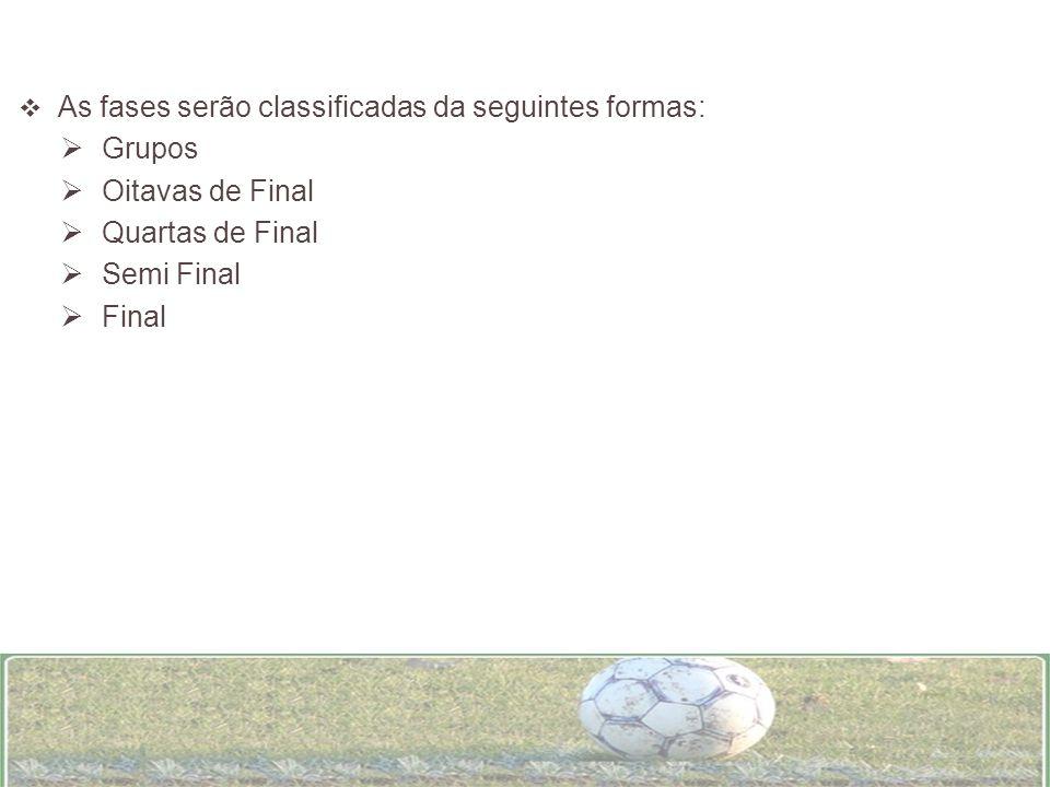 As fases serão classificadas da seguintes formas: Grupos Oitavas de Final Quartas de Final Semi Final Final