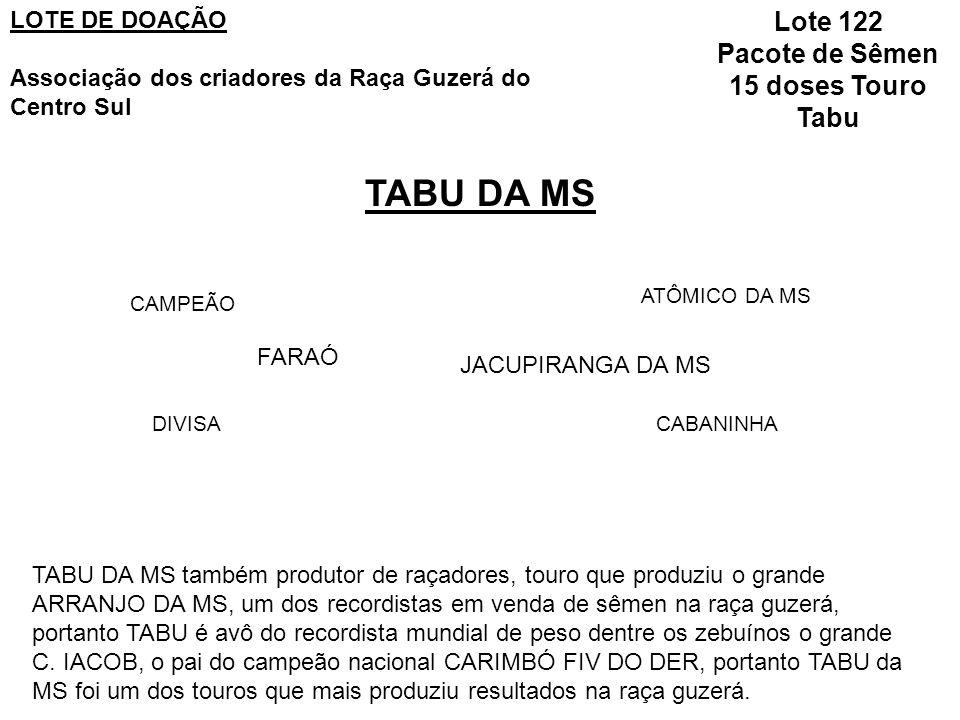 TABU DA MS FARAÓ CAMPEÃO DIVISA JACUPIRANGA DA MS ATÔMICO DA MS CABANINHA TABU DA MS também produtor de raçadores, touro que produziu o grande ARRANJO