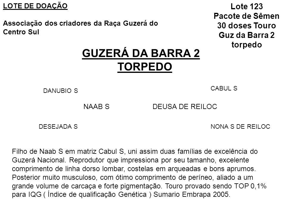 GUZERÁ DA BARRA 2 TORPEDO NAAB S DANUBIO S DESEJADA S DEUSA DE REILOC CABUL S NONA S DE REILOC LOTE DE DOAÇÃO Associação dos criadores da Raça Guzerá