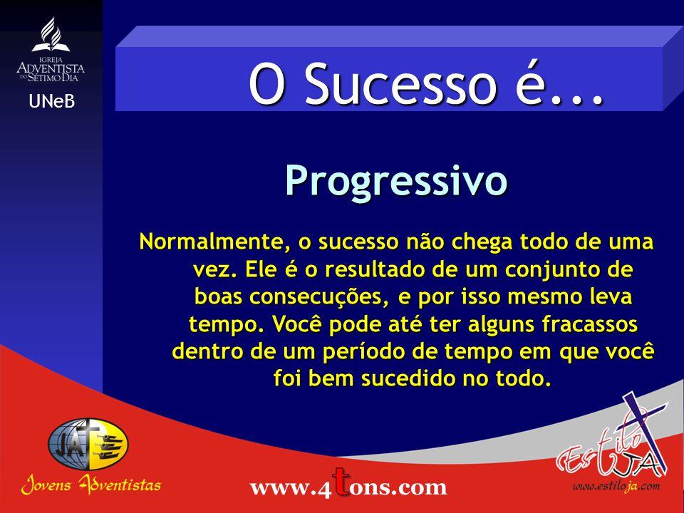 O Sucesso é...Progressivo Normalmente, o sucesso não chega todo de uma vez.