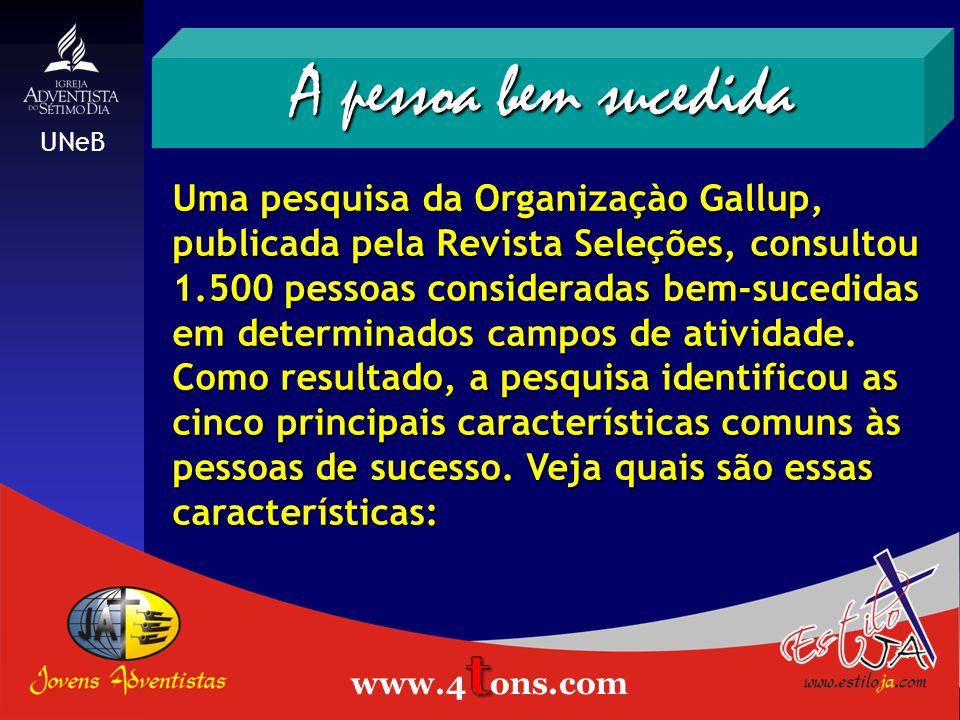 Uma pesquisa da Organizaçào Gallup, publicada pela Revista Seleções, consultou 1.500 pessoas consideradas bem-sucedidas em determinados campos de atividade.