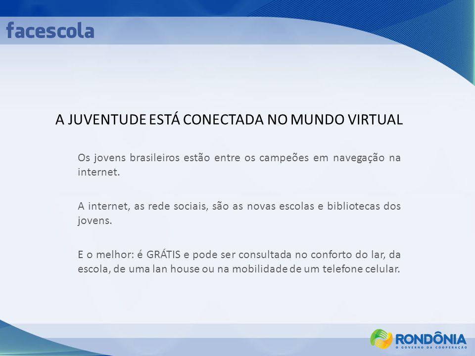 A JUVENTUDE ESTÁ CONECTADA NO MUNDO VIRTUAL Os jovens brasileiros estão entre os campeões em navegação na internet. A internet, as rede sociais, são a