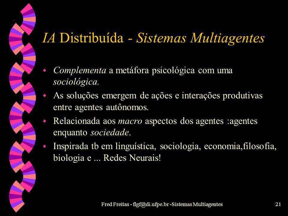 Fred Freitas - flgf@di.ufpe.br -Sistemas Multiagentes20 IA Clássica w Metáfora psicológica: uma pessoa ou entidade resolve o problema. w Inteligência