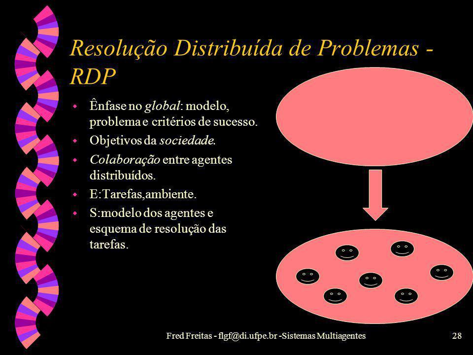 Fred Freitas - flgf@di.ufpe.br -Sistemas Multiagentes27 Divisão de soluções em IAD w Resolução Distribuída de Problemas - RDP w Sistemas Multiagentes
