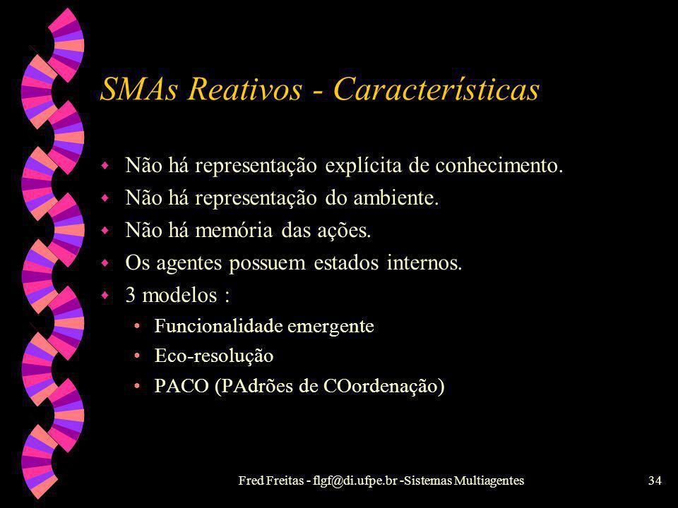 Fred Freitas - flgf@di.ufpe.br -Sistemas Multiagentes33 SMAs Reativos w R. Brooks 86 - Arquitetura de subsunção (taxonomia) Controlar robôs físicos (d
