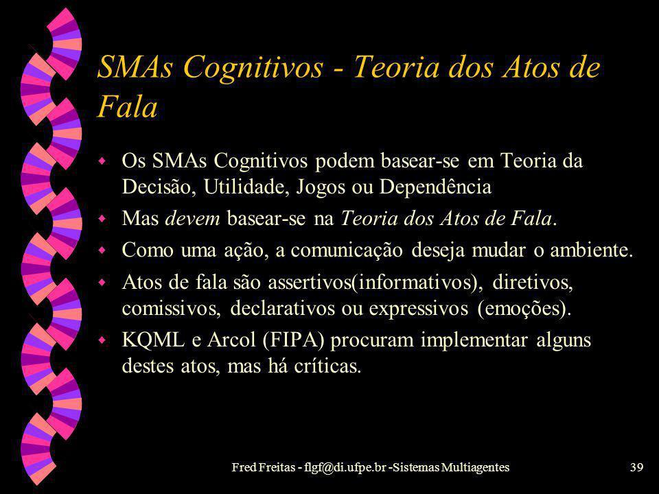 Fred Freitas - flgf@di.ufpe.br -Sistemas Multiagentes38 Comunicação entre agentes w Troca de mensagens ou Quadro Negro. w Infra-estrutura de comunicaç