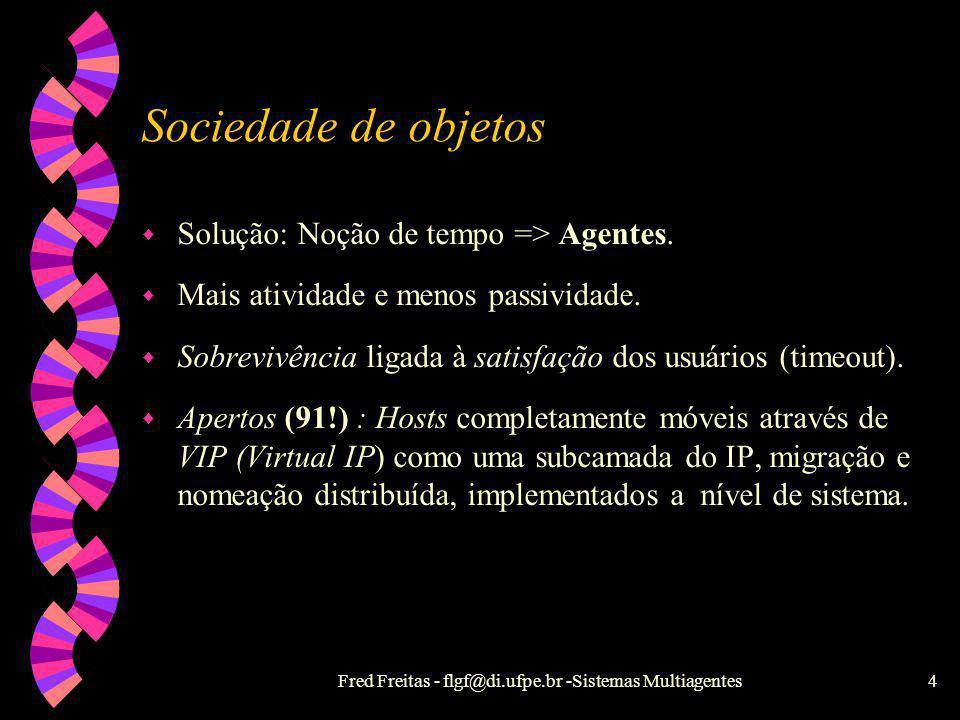 Fred Freitas - flgf@di.ufpe.br -Sistemas Multiagentes3 Sociedade de Objetos w Evolução de Objetos Distribuídos : Objetos Concorrentes. w Objetos conco
