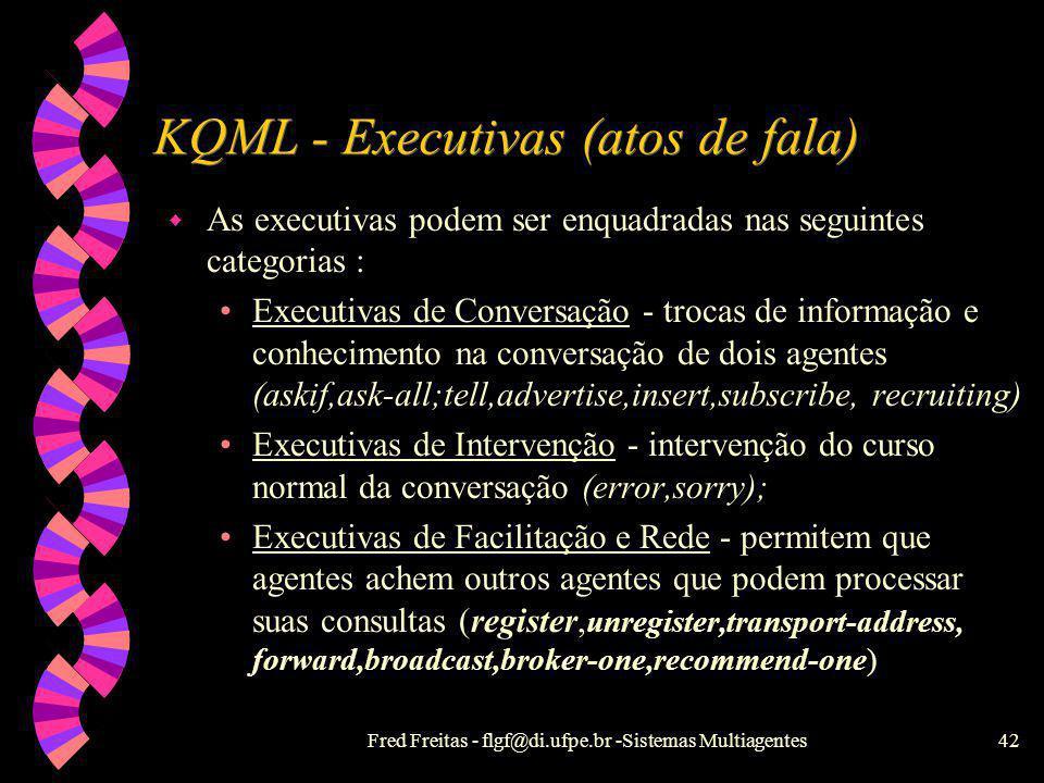 Fred Freitas - flgf@di.ufpe.br -Sistemas Multiagentes41 KQML - Knowledge, Query and Manipulation Language w KQML é uma linguagem e um conjunto de prot