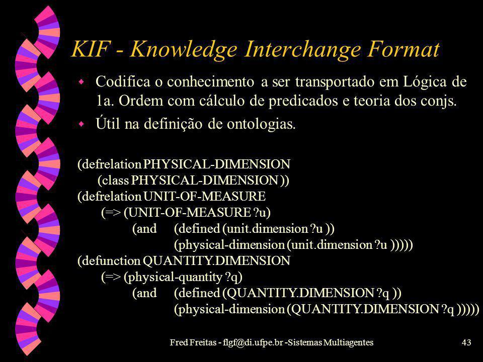 Fred Freitas - flgf@di.ufpe.br -Sistemas Multiagentes42 KQML - Executivas (atos de fala) w As executivas podem ser enquadradas nas seguintes categoria