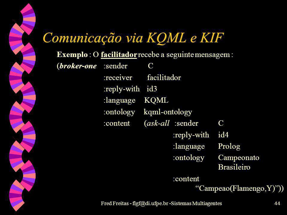 Fred Freitas - flgf@di.ufpe.br -Sistemas Multiagentes43 KIF - Knowledge Interchange Format w Codifica o conhecimento a ser transportado em Lógica de 1