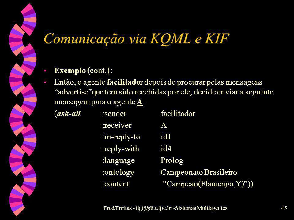 Fred Freitas - flgf@di.ufpe.br -Sistemas Multiagentes44 Comunicação via KQML e KIF Exemplo : O facilitador recebe a seguinte mensagem : (broker-one:se