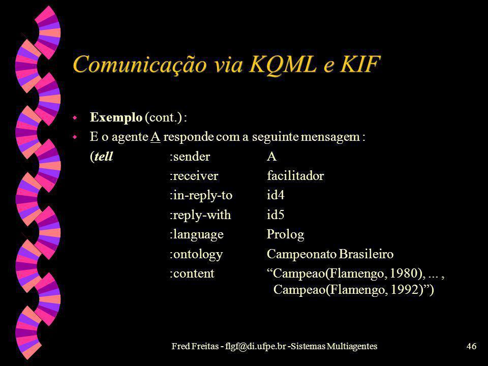 Fred Freitas - flgf@di.ufpe.br -Sistemas Multiagentes45 Comunicação via KQML e KIF w Exemplo (cont.) : w Então, o agente facilitador depois de procura