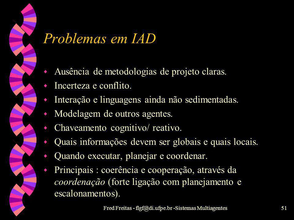 Fred Freitas - flgf@di.ufpe.br -Sistemas Multiagentes50 Sistemas Híbridos w As camadas superiores são deliberativas e as inferiores são reativas, com