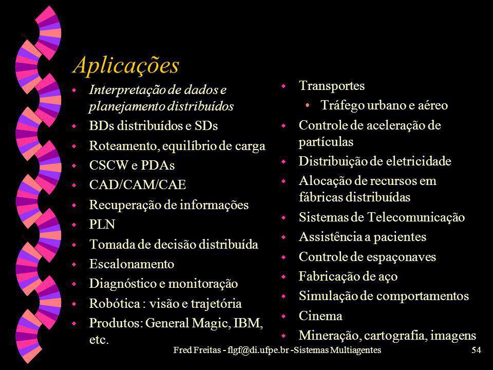 Fred Freitas - flgf@di.ufpe.br -Sistemas Multiagentes53 Classificação social de agentes SMA IndependenteCooperativo DiscretoCooperaçãoComunicativo Ñ-c