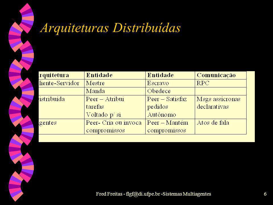 Fred Freitas - flgf@di.ufpe.br -Sistemas Multiagentes5 Modelo de Campo Computacional w Metáfora : Objetos concorrentes flutuando no mar (Campo Computa