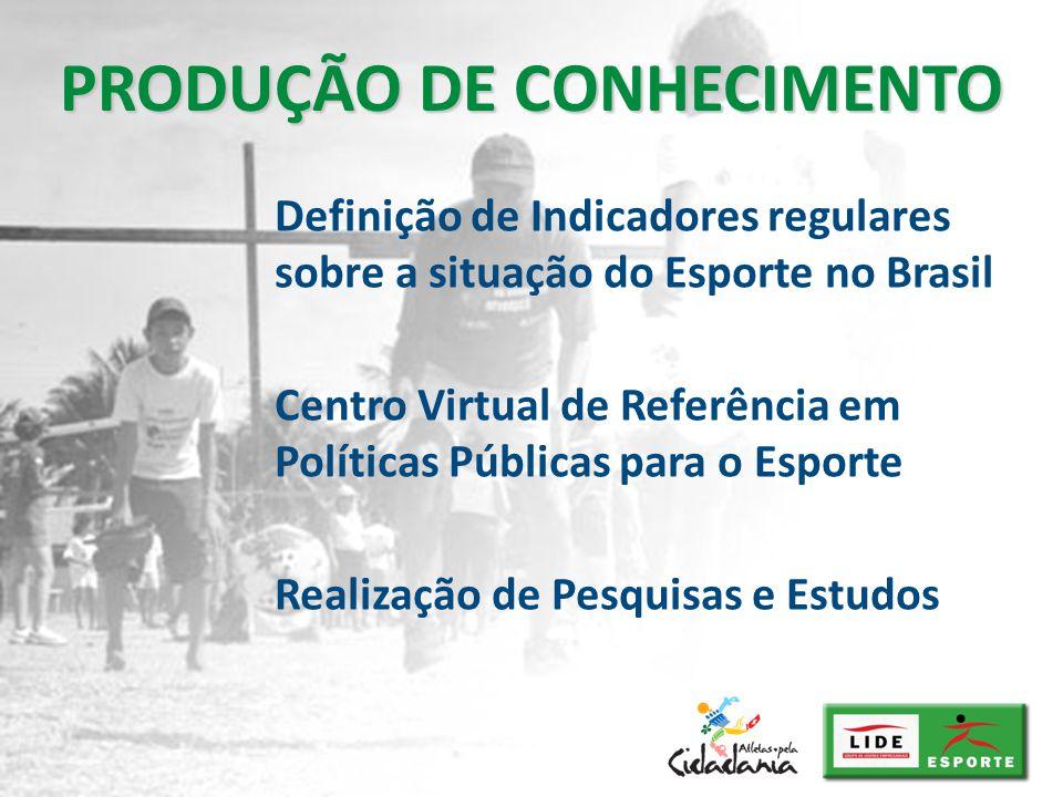 Definição de Indicadores regulares sobre a situação do Esporte no Brasil Centro Virtual de Referência em Políticas Públicas para o Esporte Realização