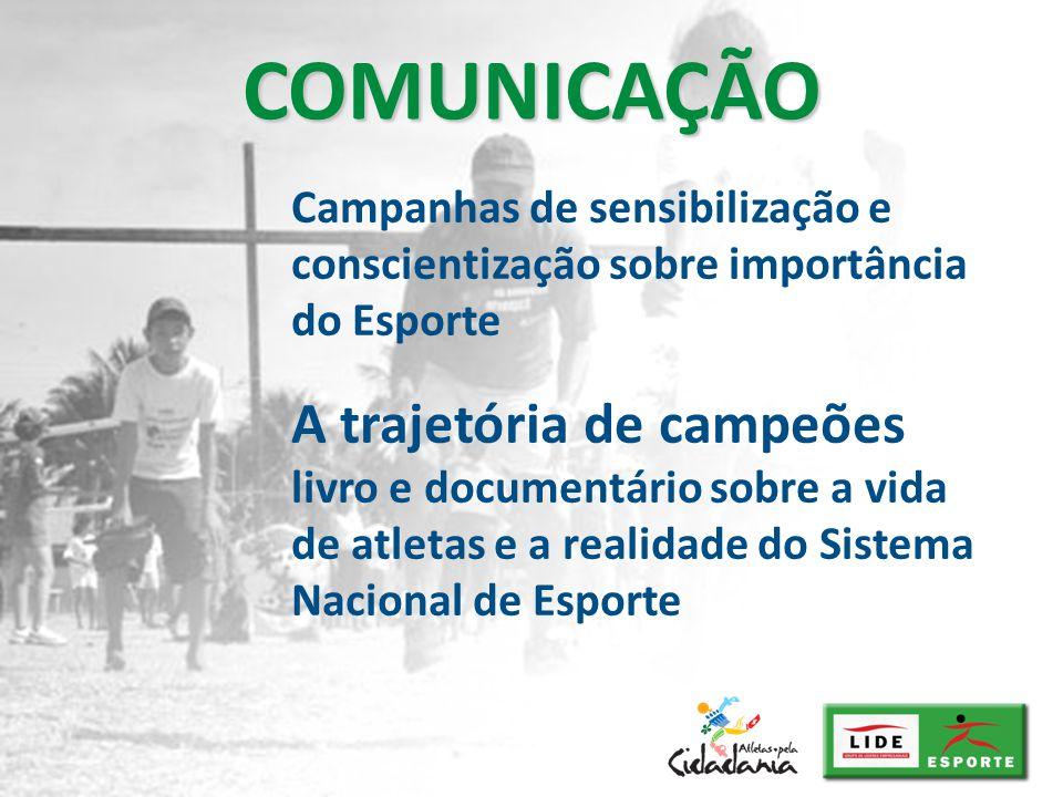 Campanhas de sensibilização e conscientização sobre importância do Esporte COMUNICAÇÃO A trajetória de campeões livro e documentário sobre a vida de a