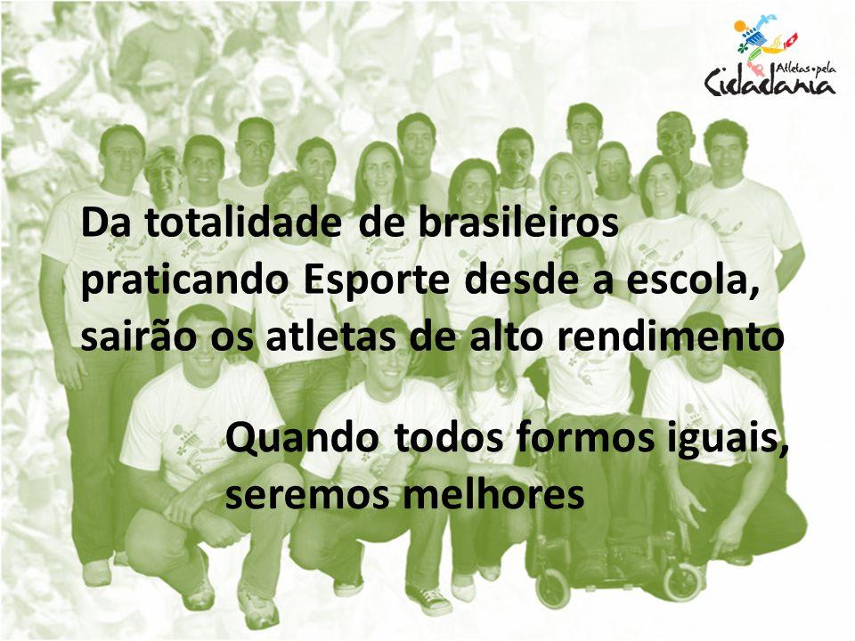 Quando todos formos iguais, seremos melhores Da totalidade de brasileiros praticando Esporte desde a escola, sairão os atletas de alto rendimento