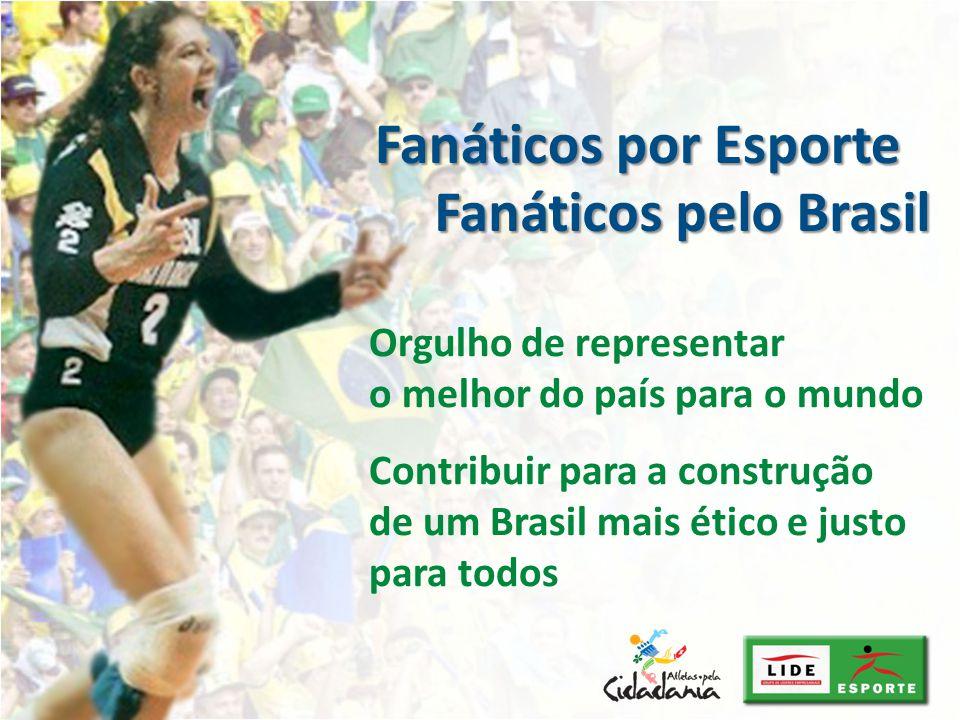 Orgulho de representar o melhor do país para o mundo Contribuir para a construção de um Brasil mais ético e justo para todos Fanáticos pelo Brasil Fan