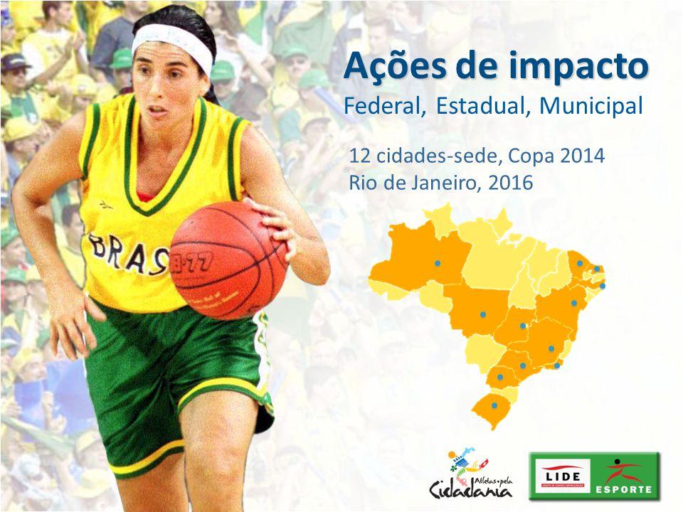 Ações de impacto Ações de impacto Federal, Estadual, Municipal 12 cidades-sede, Copa 2014 Rio de Janeiro, 2016