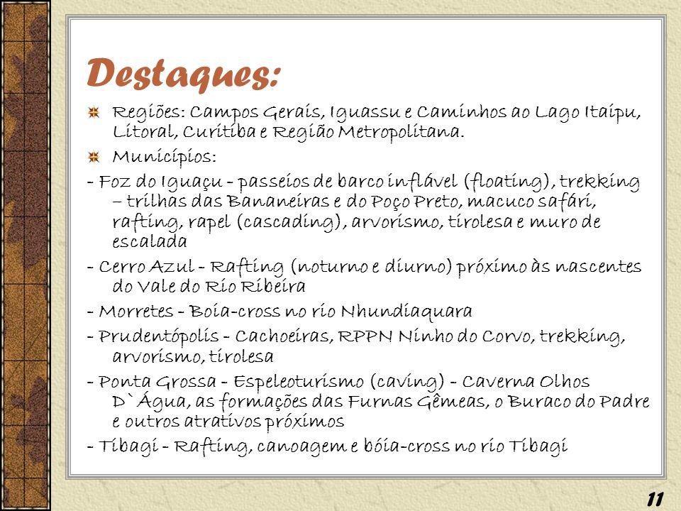 Destaques: Regiões: Campos Gerais, Iguassu e Caminhos ao Lago Itaipu, Litoral, Curitiba e Região Metropolitana. Municípios: - Foz do Iguaçu - passeios