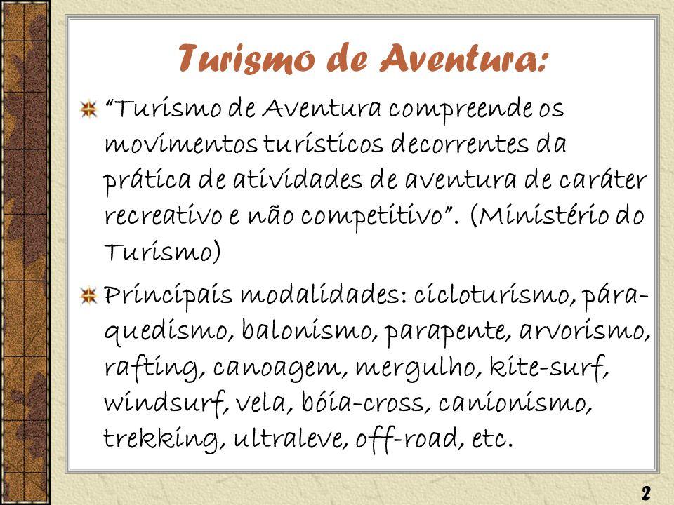 Turismo de Aventura: Turismo de Aventura compreende os movimentos turísticos decorrentes da prática de atividades de aventura de caráter recreativo e