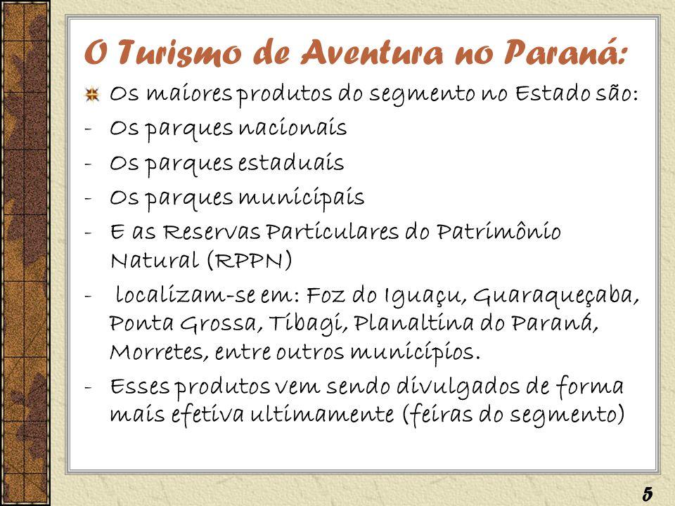 O Turismo de Aventura no Paraná: Os maiores produtos do segmento no Estado são: -Os parques nacionais -Os parques estaduais -Os parques municipais -E