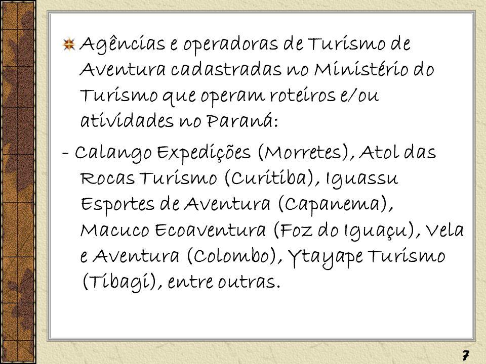 Agências e operadoras de Turismo de Aventura cadastradas no Ministério do Turismo que operam roteiros e/ou atividades no Paraná: - Calango Expedições
