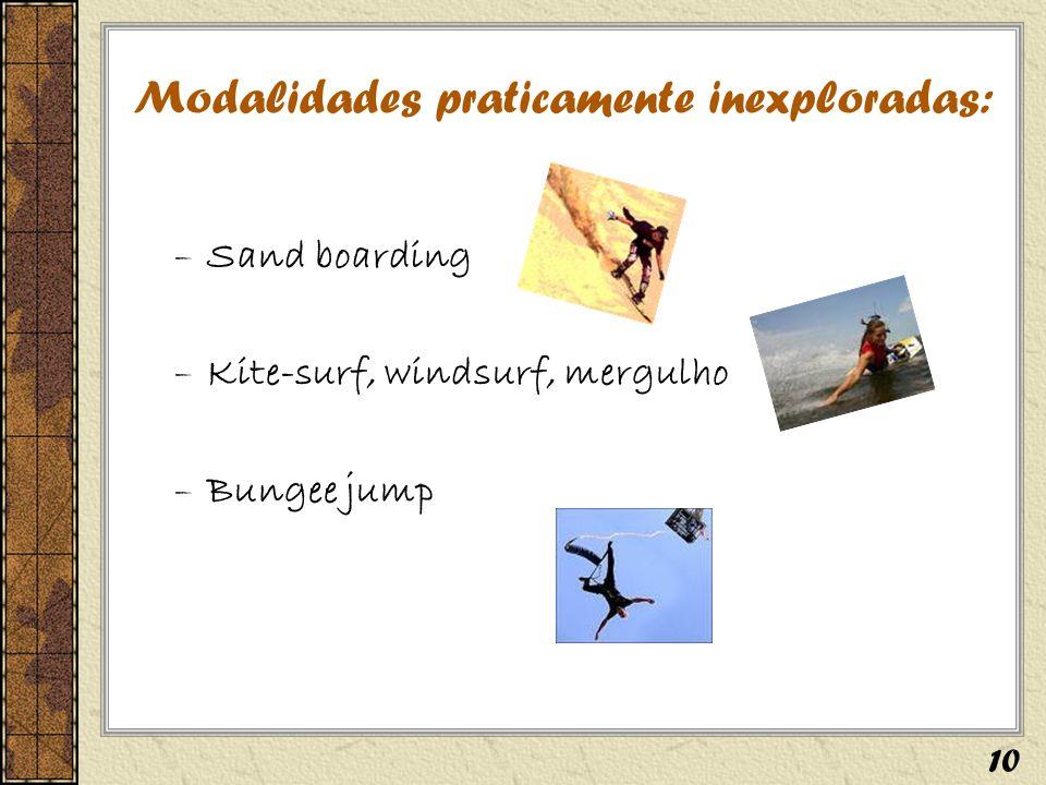 Modalidades praticamente inexploradas: –Sand boarding –Kite-surf, windsurf, mergulho –Bungee jump 10