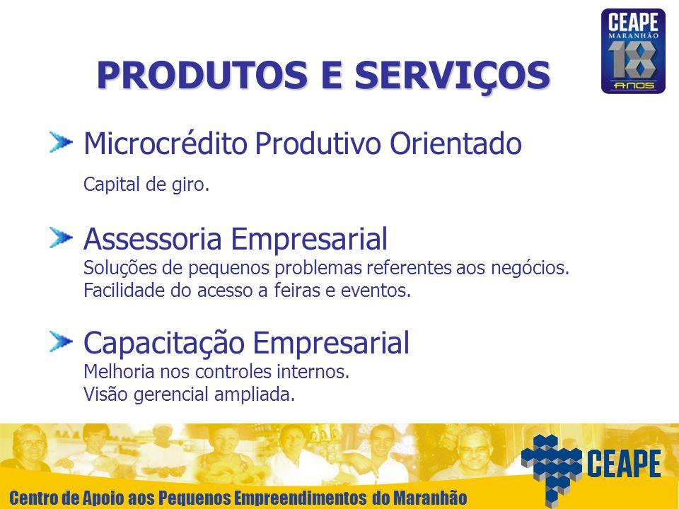 Centro de Apoio aos Pequenos Empreendimentos do Maranhão PRODUTOS E SERVIÇOS Microcrédito Produtivo Orientado Capital de giro. Assessoria Empresarial