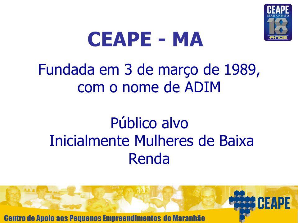 Centro de Apoio aos Pequenos Empreendimentos do Maranhão Fundada em 3 de março de 1989, com o nome de ADIM Público alvo Inicialmente Mulheres de Baixa