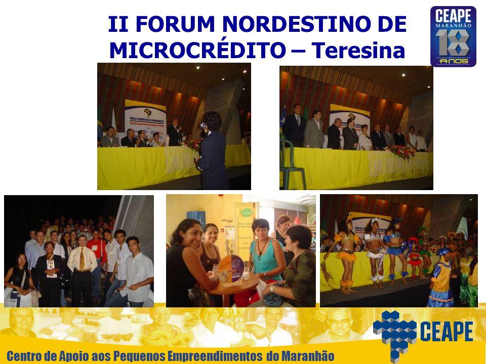 Centro de Apoio aos Pequenos Empreendimentos do Maranhão II FORUM NORDESTINO DE MICROCRÉDITO – Teresina