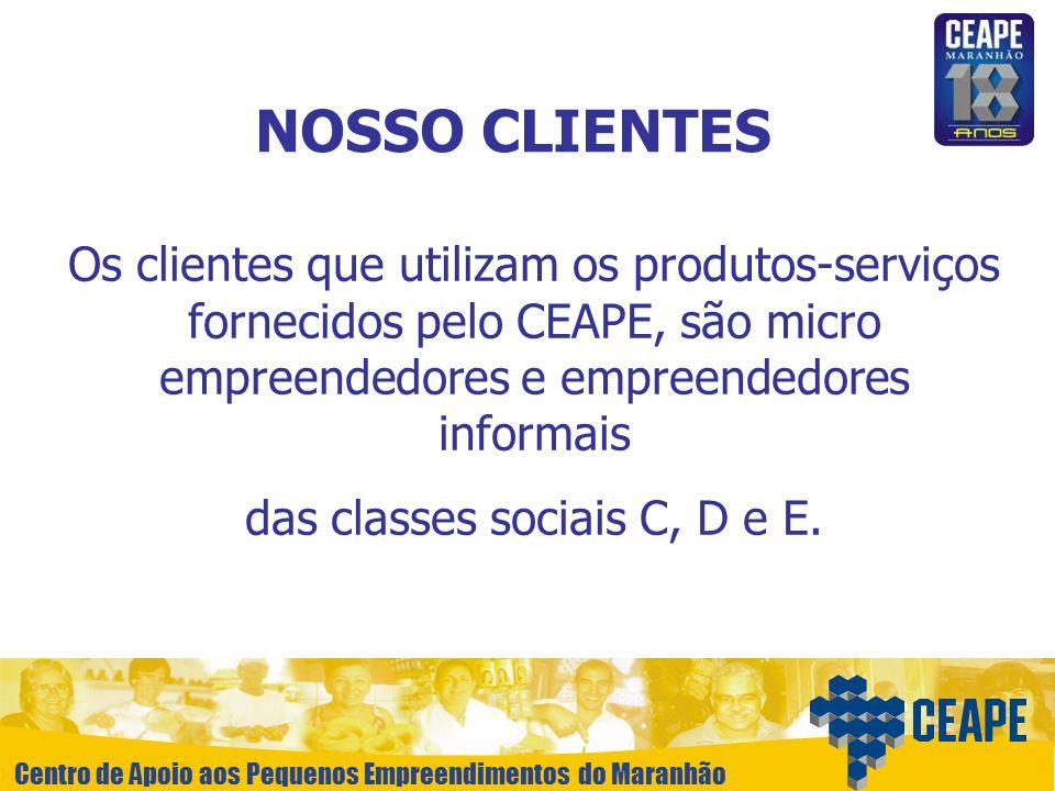 Centro de Apoio aos Pequenos Empreendimentos do Maranhão NOSSO CLIENTES Os clientes que utilizam os produtos-serviços fornecidos pelo CEAPE, são micro