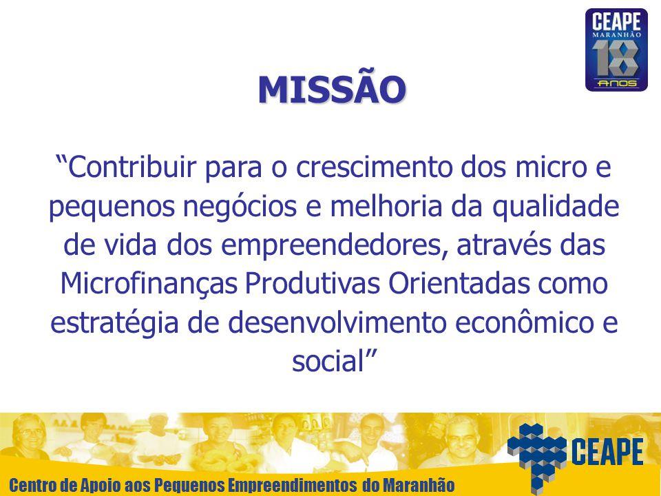 Centro de Apoio aos Pequenos Empreendimentos do Maranhão MISSÃO Contribuir para o crescimento dos micro e pequenos negócios e melhoria da qualidade de
