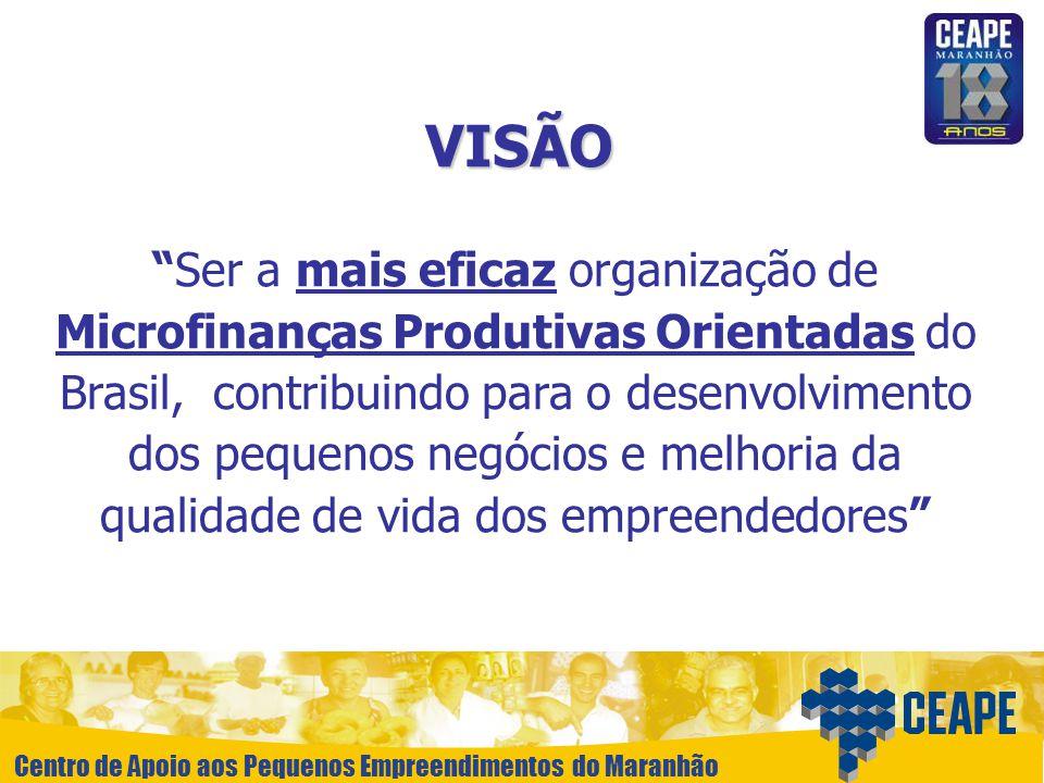 Centro de Apoio aos Pequenos Empreendimentos do Maranhão VISÃO Ser a mais eficaz organização de Microfinanças Produtivas Orientadas do Brasil, contrib