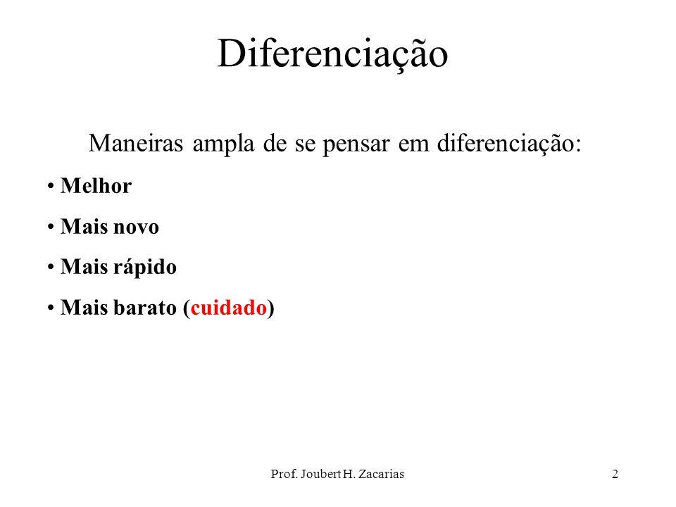 Prof. Joubert H. Zacarias2 Diferenciação Maneiras ampla de se pensar em diferenciação: Melhor Mais novo Mais rápido Mais barato (cuidado)
