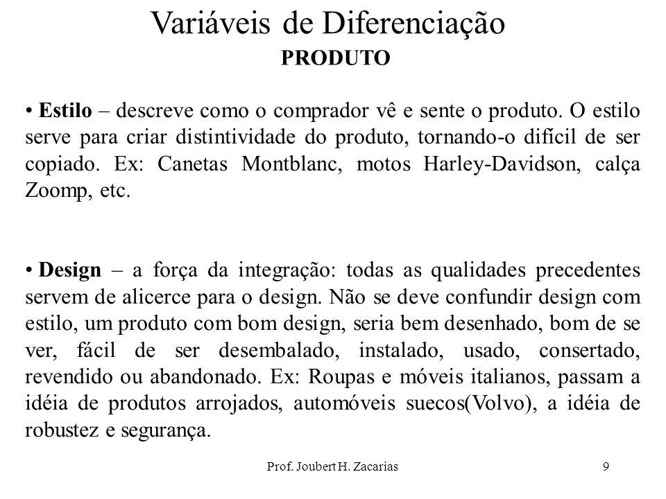 Prof. Joubert H. Zacarias9 Variáveis de Diferenciação PRODUTO Estilo – descreve como o comprador vê e sente o produto. O estilo serve para criar disti