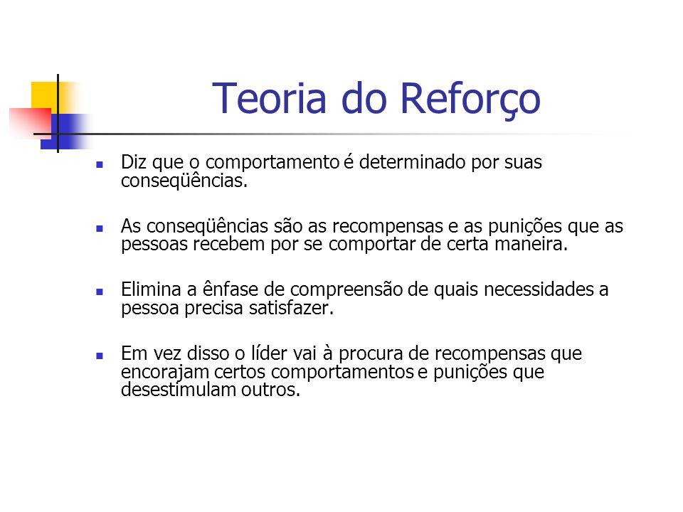 Teoria do Reforço Diz que o comportamento é determinado por suas conseqüências. As conseqüências são as recompensas e as punições que as pessoas receb