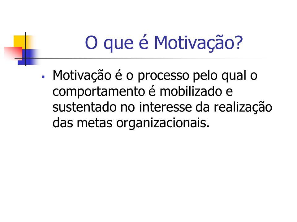 O que é Motivação? Motivação é o processo pelo qual o comportamento é mobilizado e sustentado no interesse da realização das metas organizacionais.