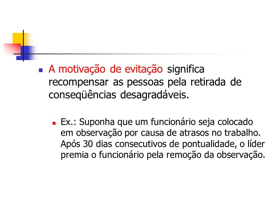 A motivação de evitação significa recompensar as pessoas pela retirada de conseqüências desagradáveis.