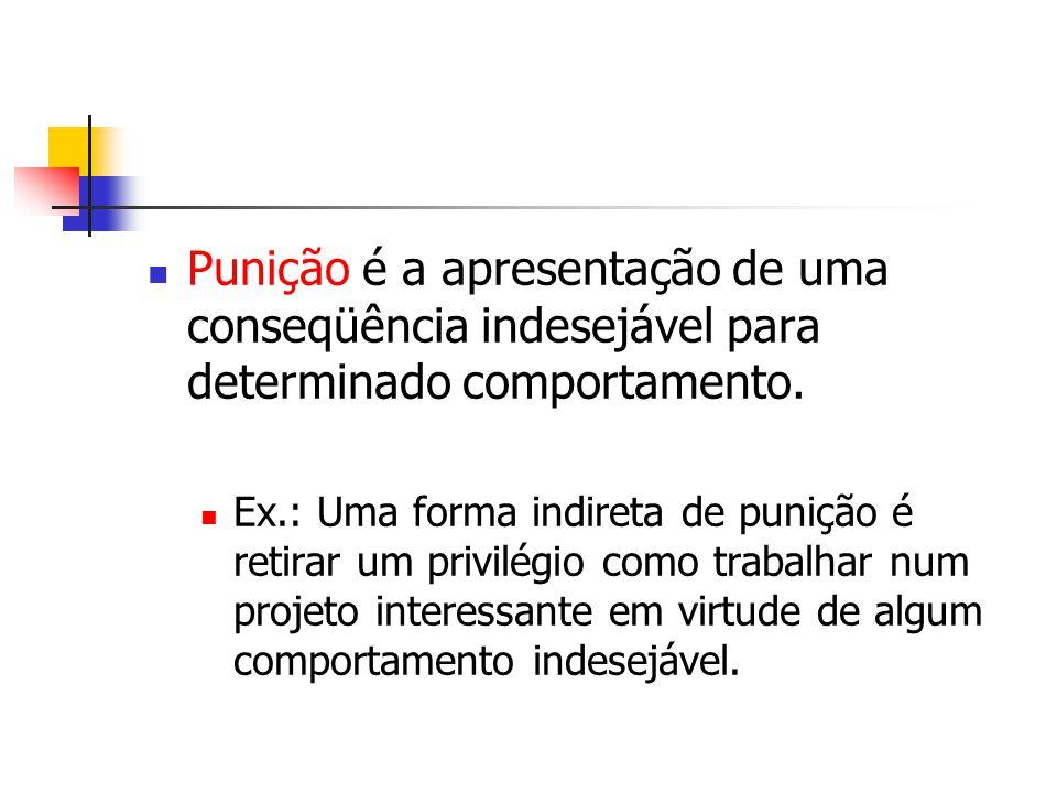 Punição é a apresentação de uma conseqüência indesejável para determinado comportamento. Ex.: Uma forma indireta de punição é retirar um privilégio co